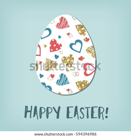 Easter egg. Blue, red, gold hearts pattern. Greeting Easter card.