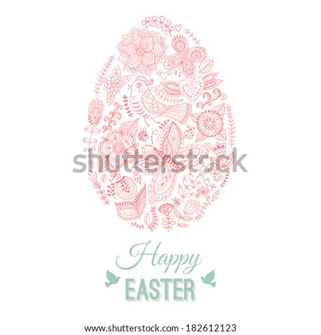 Easter egg card on wood, floral Easter egg background. Happy Easter card. Happy easter cards illustration with easter egg. Doodles ornament easter egg background