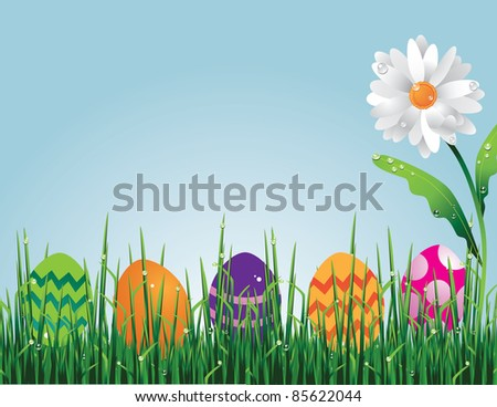 Easter egg hunt Easter eggs hidden in the grass.  EPS 8 vector with no open shapes, strokes or transparencies.