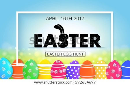 Easter egg hunt vector illustration. Colorful holiday banner design with eggs.