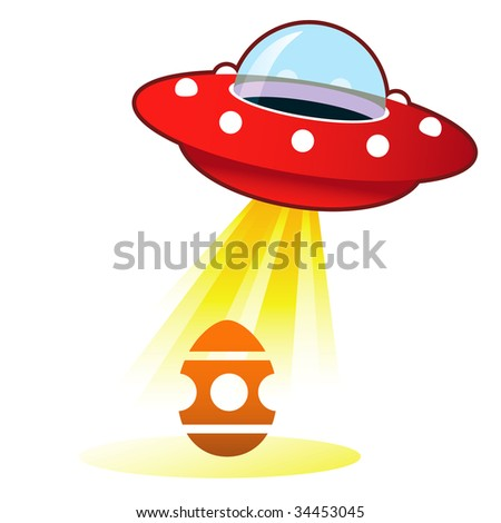 Easter egg icon on retro flying saucer UFO with light beam.