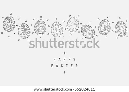 Easter egg icons collection in doodle style. Hand drawn illustration. Banner background.