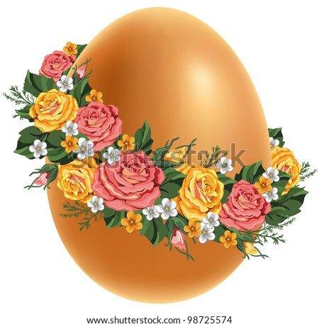 Easter egg in a wreath of flowers. Vintage style.