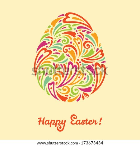 Easter egg in doodle minimalism style with place for your text. Vector illustration