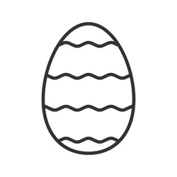 Easter egg linear icon. Thin line illustration. Easter egg with waves pattern contour symbol. Vector isolated outline drawing
