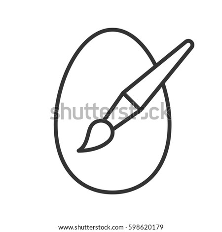 Easter egg painting linear icon. Thin line illustration. Easter egg with brush contour symbol. Vector isolated outline drawing