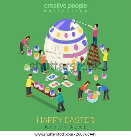 Easter Egg Painting Micro People Flat 3d Isometric Infographic ...