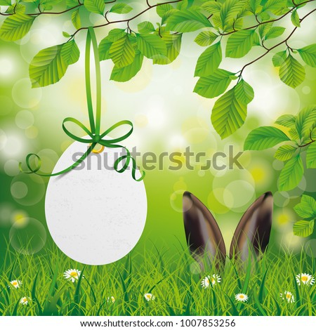 Easter egg price sticker with hare ears in the green forest. Eps 10 vector file.