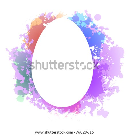 Easter egg reversed out of colorful dye spills