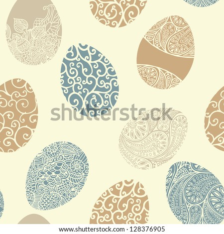 Easter egg seamless vector pattern. - stock vector