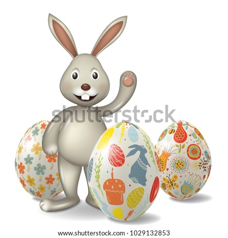 Easter egg with bunny, isolated.