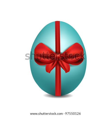 easter egg with red satin ribbon