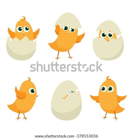 easter eggs chicks set easter