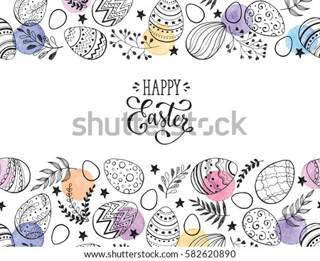 easter eggs composition hand