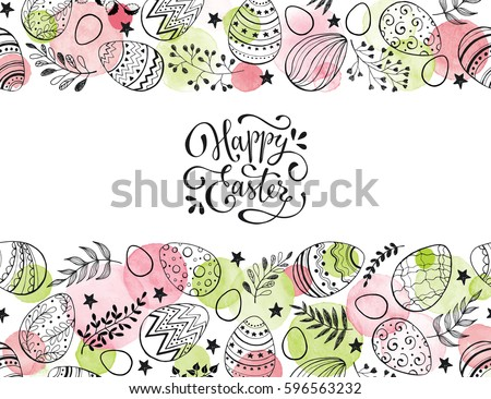Easter eggs composition hand drawn black on white background. Decorative horizontal stripe from eggs with  leaves and watercolor dots. #596563232