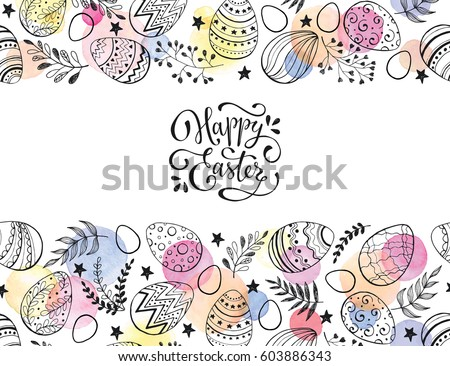 Easter eggs composition hand drawn black on white background. Decorative horizontal stripe from eggs with  leaves and watercolor dots. #603886343