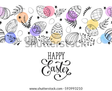 Easter eggs composition isolated on white background. Decorative horizontal border from eggs with  leaves and watercolor dots. #593993210