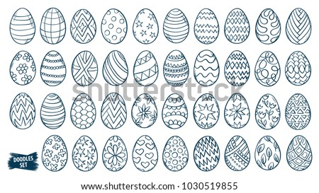 Easter eggs doodle set. Spring holiday symbols. Egg ornament sketch. Hand drawn style scrawl. Easter sketch. Set of simple doodles. Easter egg decor. Kids drawing. Vector collection isolated on white.