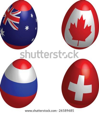 easter, eggs, flag, Australia, Canada, Russia, Switzerland