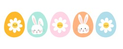 Easter eggs icon set with daisy flower and rabbit head isolated on white background vector illustration. Cute cartoon style.