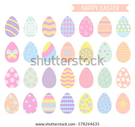 Easter Eggs Icons In Pastel Colors Isolated On White Background Vector Illustration