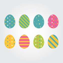 Easter eggs icons. Vector illustration.