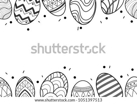 easter eggs in black outline
