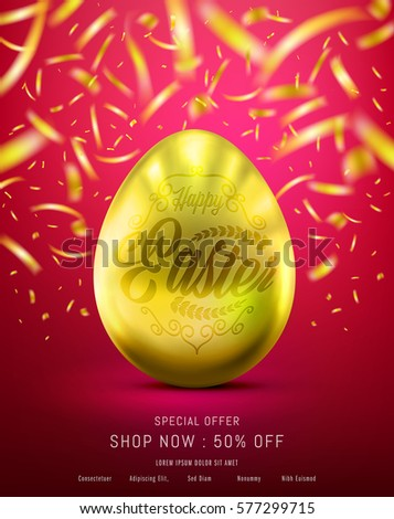easter eggs in gold color for
