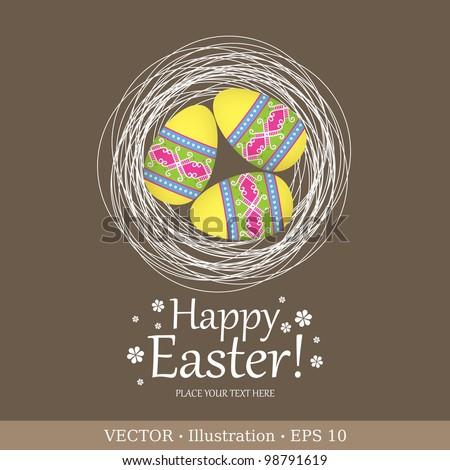Easter eggs in nest. Easter background.