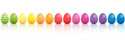 Easter eggs. Lined up with different colors and patterns. Rainbow colored three-dimensional isolated vector illustration on white background.
