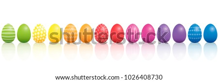 easter eggs lined up with