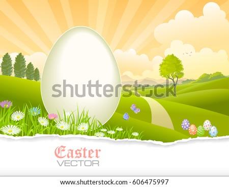 easter eggs  meadows  flowers