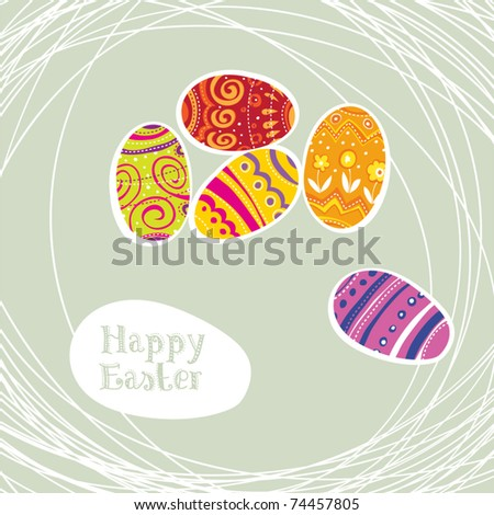 Easter eggs modern background. - stock vector