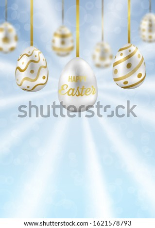 easter eggs on blue sky with