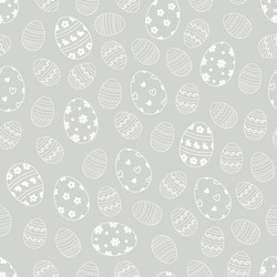 Easter eggs seamless pattern on stroke outline. Easter holiday background for printing, wallpaper or fabric.