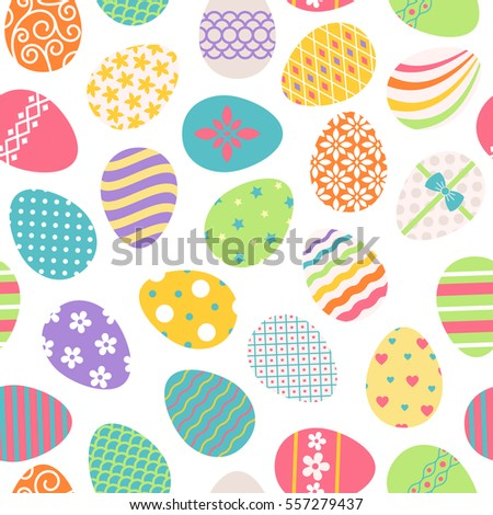Easter eggs seamless pattern. Vector colored ostern background with floral patterns.