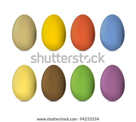 Easter eggs set. Colorful, realistic vector illustration, EPS10.