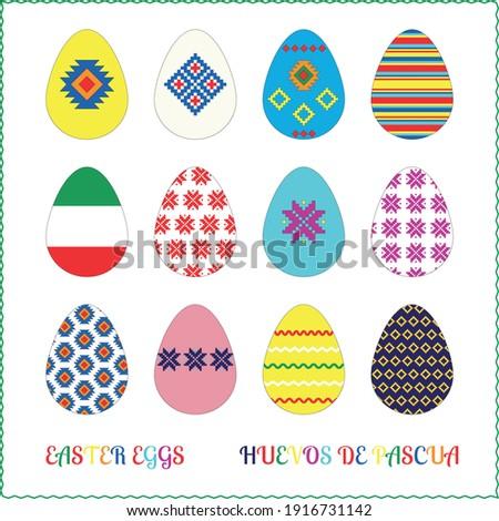 Easter eggs set. Flat design on white background. Vector illustration. Huevos de pascua. Foto stock ©