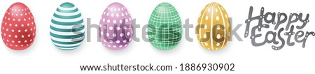 Easter eggs set on white background in pastel colors. Banner with colored easter eggs. Foto stock ©