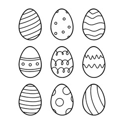Easter eggs set. Vector lineart set of eggs with ornament. Perfect for easter pattern, stickers, coloring page, logo, banner. Hand drawn easter illustration. Spring holiday drawing. Black and white.