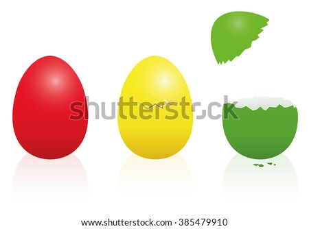 Easter eggs - traffic light colors - red, yellow, green - intact, broken, open. Three-dimensional isolated vector illustration on white background.