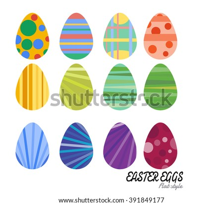 Easter eggs vector flat icons. Easter eggs. Flowers concept. Easter Vector Art, Stock Vector #391849177