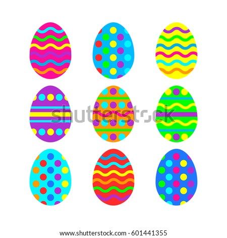 Easter eggs vector icon background. Flat style of colorful eggs. Vector illustration on white