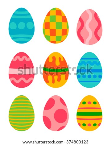 easter eggs vector icons flat