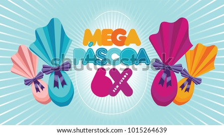 Easter Eggs Vector Illustration. Colorful Easter Sale Template with chocolate eggs.