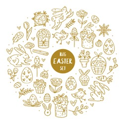 Easter elements doodle hand drawn vector big set of elements, clip art, illustration, sticker. Easy to change color. Isolated on white background. Easter cakes, rabbits, muffins, plants, eggs, spices.