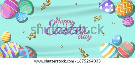 Easter Festival wallpaper eggs colorful vector design EPS.