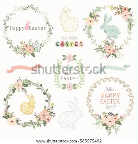 Easter Floral Wreath #585575492