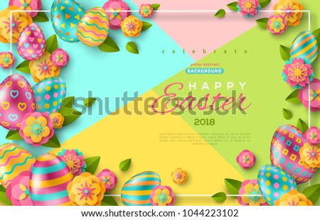 Easter flyer template with paper cut flowers, leaves and colorful eggs. Thin  frame on Bright colorful geometric background. Vector illustration.