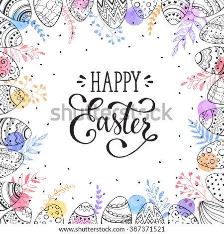 Easter frame with easter eggs hand drawn black on white background. Decorative frame from eggs. Easter eggs with colorful leaves and watercolor dots.